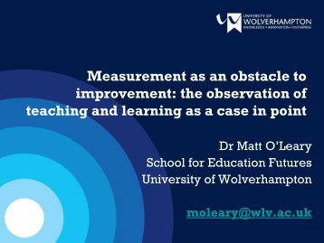 Measurement as an obstacle to improvement - University of ...