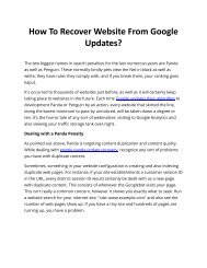 How To Recover Website From Google Updates?