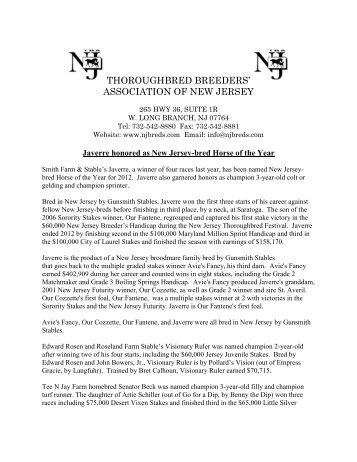 THOROUGHBRED BREEDERS' ASSOCIATION OF NEW JERSEY