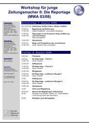Workshop für junge - Journalisten Akademie