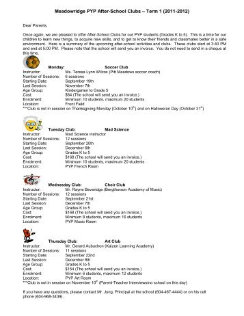 Meadowridge PYP After-School Clubs – Term 1 (2011-2012)
