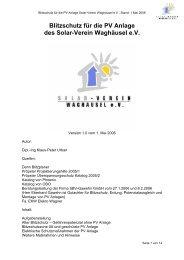 Blitzschutz für die PV Anlage des Solar-Verein ... - solar-verein.de