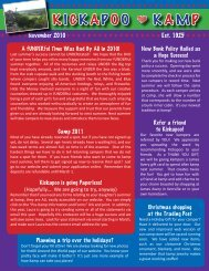 November 2010 Newsletter - Kickapoo Kamp