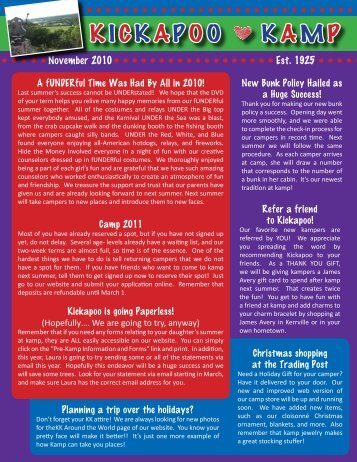 November 2010 Newsletter - Kickapoo Kamp