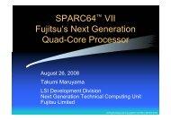 SPARC64(TM) VII Fujitsu's Next Generation Quad-Core Processor