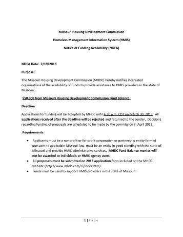 Notice of Funding Availability - Missouri Housing Development ...