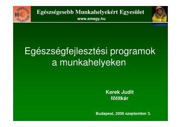 Egészségfejlesztési programok a munkahelyeken a munkahelyeken