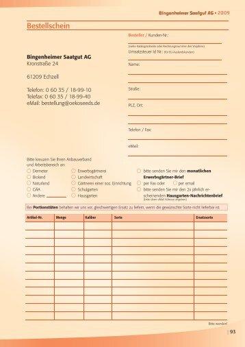 Bestellschein - Bingenheimer Saatgut AG
