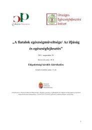 A konferencia értékelése - Országos Egészségfejlesztési Intézet