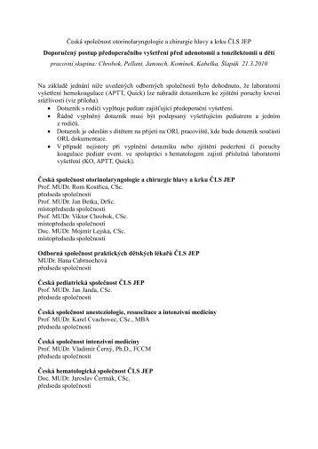 Dotazník pro doporučený postup předoperačního vyšetření před ...