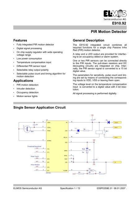 E910 92 PIR Motion Detector - Elmos Semiconductor AG