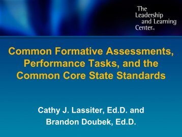 Common Formative Assessments, Performance Tasks, and the