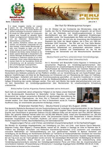 Bulletin 2.Jahr / Nr.1 - Botschaft der Republik Peru