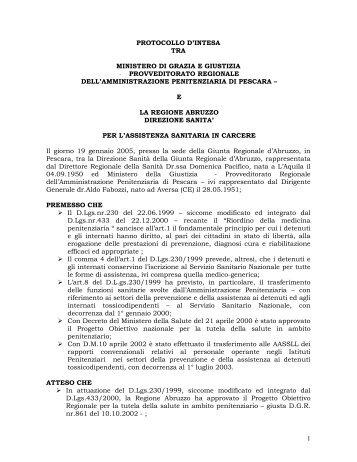 1 PROTOCOLLO D'INTESA TRA M INISTERO DI ... - Farmaci Abruzzo