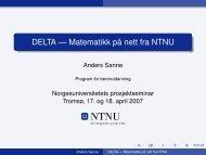 DELTA --- Matematikk på nett fra NTNU - Norgesuniversitetet