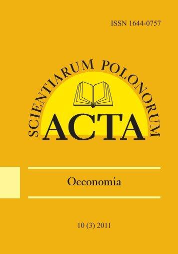 Oeconomia - ACTA SCIENTIARUM POLONORUM - SGGW