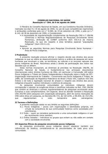 CONSELHO NACIONAL DE SAÚDE Resolução n.º 304, de 9 ... - Anis