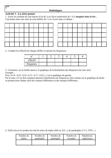 Statistiques Activité 1 : La série pensée n° 1 2 3 4 5 ... - Math'ambouille