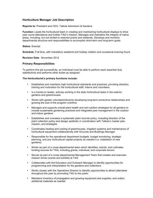 Horticulture Manager Job Description JA 1-22-13 207