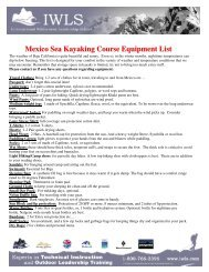 Mexico Sea Kayaking Course Equipment List - IWLS