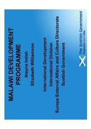 Scot Govt presentation - Scotland Malawi Partnership