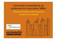 Innovation ecosystems as platforms for innovative SMEs - CLIQ project