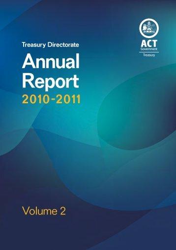 Treasury Directorate Annual Report 2010-2011 - Volume 2