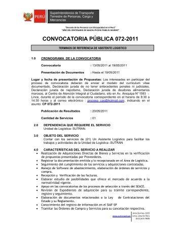 Tdr 0165 Especialista En Control Patrimonial Sutran