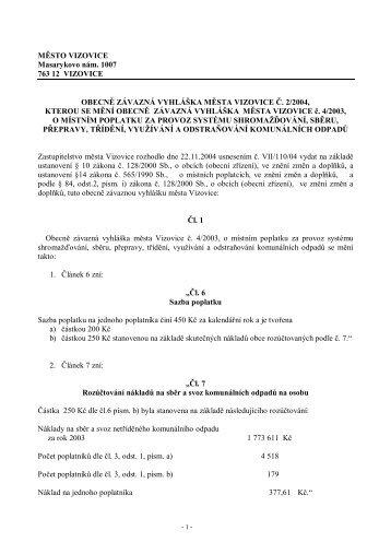 VM_2_2004 o poplatku za odpady - Vizovice