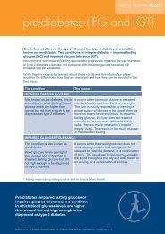 pre-diabetes (IFG and IGT) - Australian Diabetes Council