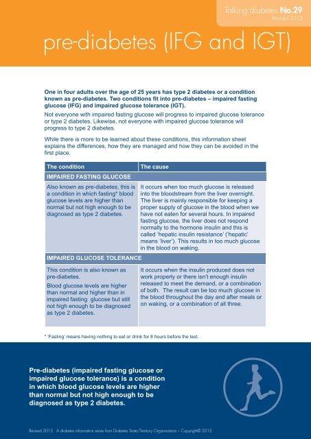Pre Diabetes Ifg And Igt Australian Diabetes Council
