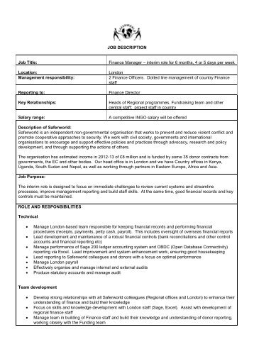 job description job title programme manager saferworld