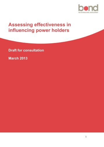 Assessing effectiveness in influencing power holders - Bond