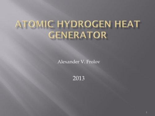 Atomic hydrogen heat generator