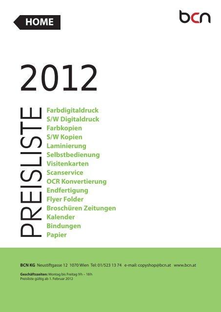 Preisliste Bcn Copyshop Wien Drucken Kopieren