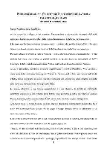 Discorso del Magnifico Rettore al Presidente della Repubblica
