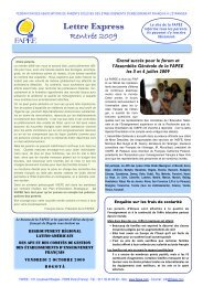 Lettre Express Rentrée 2009 - Fapee.com