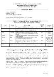 Proposition de sujet de Master pour la rentrée universitaire 2012 ...