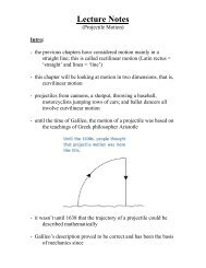 Lecture Notes (Projectile Motion) - Dickey Physics