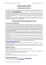 Visual Basic Script programozás útmutató