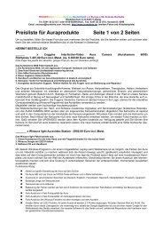 Preisliste für Auraprodukte Seite 1 von 2 Seiten