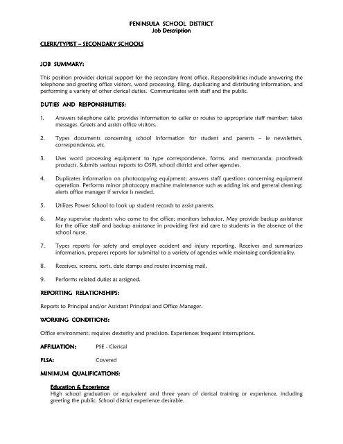 clerk typist-secondary Updated Job Description