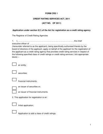 Credit Rating Agency Draft Form CRS1 Application for registration