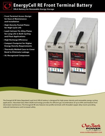 EnergyCell RE Front Terminal Battery - OutBack Power Systems
