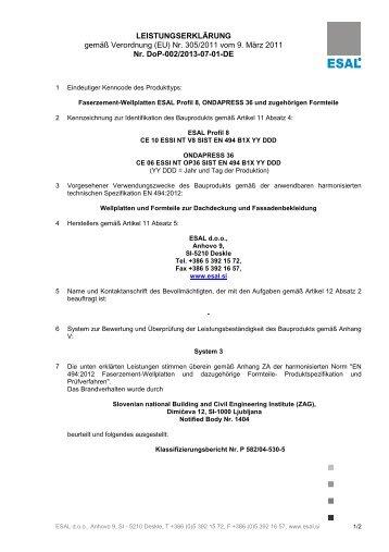 Leistungserklärung Welltafeln Profil 8 - FibreCem Deutschland GmbH