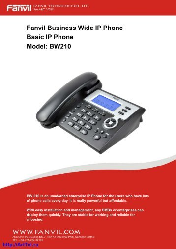Fanvil Business Wide IP Phone Basic IP Phone Model: BW210
