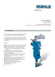 Automatikfilter AF 133 G - MAHLE Industry - Filtration