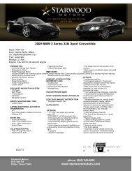 www.starwoodmotors.com 2009 BMW 3 Series 328i Sport Convertible