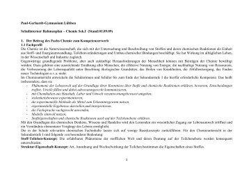 1. Der Beitrag des Fachs Chemie zu - Paul-Gerhardt-Gymnasium