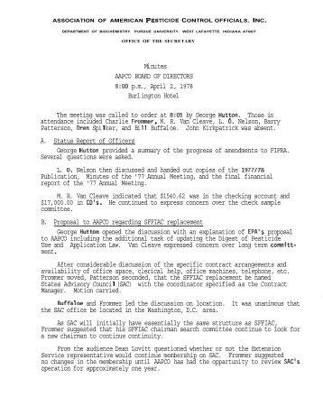 Mi nu tes AAPCO BOARD OF DIRECTORS 8:00 p.m., April 2, 1978 ...